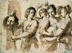 Guercino (Giovanni Francesco Barbieri)  Cento 1591 – 1666 Bologna  The Triumph of David  1630s  pen and ink, wash, 235 × 316 mm
