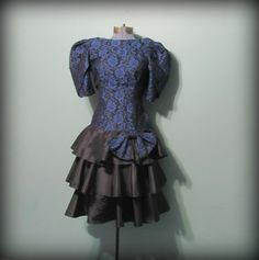 Vintage 80s Women's Prom Dress Blue Lace top by offbeatvintage, $51.00