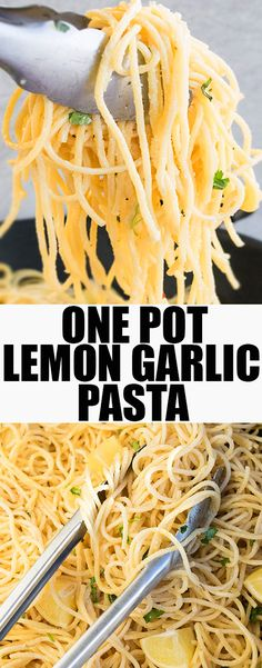This easy one pot LEMON GARLIC PASTA is a simple weeknight meal that's ready in 30 minutes. This lemon pasta is packed with lemon juice and lemon zest. From cakewhiz.com