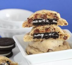 Delicious! Oreo Stuffed Chocolate Chip Cookies. My Cookie Monster would LOVE these!