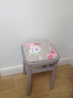 An up cycled chair being thrown away. Originally £2.99 from Woolworths!!  A team effort from Emily and myself. Painted  in Farrow and Ball Charleston Gray and covered in Clarke and Clarke fabric. Very satisfying and a great way to spend time together. Bringing new life to a tired stool.