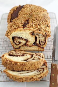 Nutella Babka with Brown Sugar Hazelnut Streusel