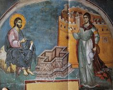 woman at the well byzantine fresco - Yahoo Image Search Results Baptism Of Christ, Bride Of Christ, Tempera, Fresco, Rome Catacombs, Religious Paintings, Byzantine Icons, Orthodox Icons, Medieval Art
