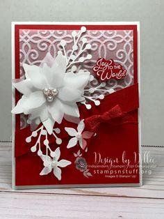 Poinsettia Cards, Christmas Poinsettia, Christmas Cards To Make, Christmas Greetings, Holiday Cards, Homemade Christmas Cards, Homemade Cards, Handmade Christmas, Beautiful Christmas Cards