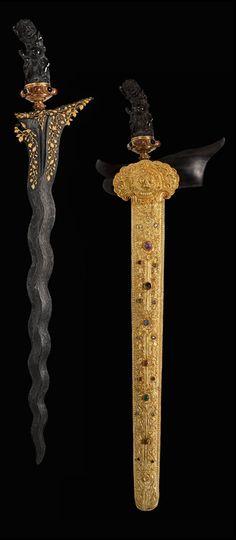 KRIS, Dagger: 20th Century  Indonesia/Malaysia  Steel, gold, ebony, gems, gilded silver.