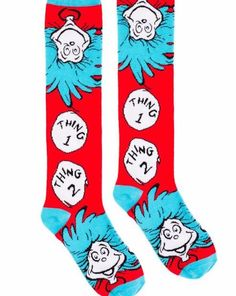 4892118d3c8 Dr Seuss The Cat In The Hat Thing 1 and Thing 2 Adult Knee High Socks