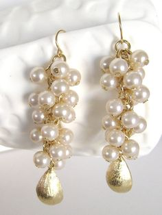 Gorgeous! Pearl Cluster Earrings  Gold Dangle Teardrop - Cascade - Wedding - Bridal Bridesmaid Jewelry -  Special Occasion Jewelry - by LoveShineBridal, $35.00