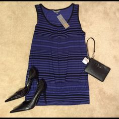 """HP Daisy Fuentes Blue Black Strip Mini Dress NWT reduced from $28! Brand new with tags! Color: Blue/Black Mini Dress or could wear as Long Tank Top with some leggings! Size: Large. Material: 100% Rayon. Roughly 19"""" in width, 30"""" in length. Comes from a smoke-free home!  Daisy Fuentes Dresses Mini"""