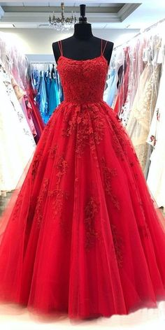 Spaghetti Straps Red A-line Cheap Evening Prom Dresses, Evening Party – SposaDresses prom promdresses promdresseslong promdressescheap Dressesformal fancydresses eveningdresses partydreses 620019073686255424 Red Lace Prom Dress, Pretty Prom Dresses, Cheap Prom Dresses, Prom Party Dresses, Party Gowns, Dance Dresses, Elegant Dresses, Tulle Lace, Dresses Dresses
