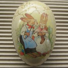 Vintage Germany Papier Paper Mache Egg Container Box Decoration 3.5 Inch