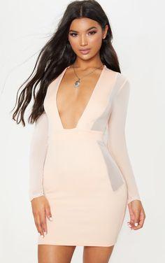 Nude Mesh Insert Extreme Plunge Long Sleeve Blazer Dress