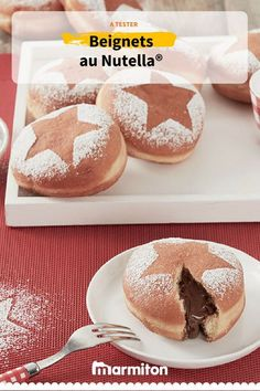 Beignets au Nutella au coeur coulant... #recettemarmiton #marmiton #cuisine #recette #patisserie #beignet #gateau #moelleux #nutella #chocolat #gouter #noel Coco, Sweet Recipes, Hamburger, Biscuits, Muffins, Bread, Cooking, Donuts, Pancakes And Waffles