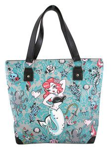 Molly Mermaid Tattoo Retro Pin Up Travel Tote Bag Purse RockaBilly NEW Fluff NWT