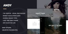 Andy - Multi/One-Page Minimal Parallax Theme by ab-themes  Andy is a modern WordPress theme made to look awesome on any size of screen. Andy is ideal theme for any agency like creative des