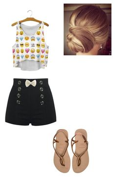 """School :) !"" by alejandra-martinez-738 on Polyvore featuring Havaianas, women's clothing, women, female, woman, misses and juniors"