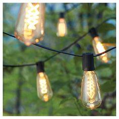 10Lt Spiral Filament Vintage Bulb String Lights - Black Wire - Smith & Hawken™ : Target