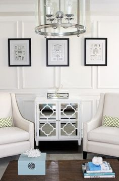 An alternate way to hang pictures on panel molding – you would normally hang them inside the box.