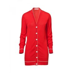 DAPHNE-12 Pirelli PZero red cotton crˆpe cardigan with pocket and ivory details.