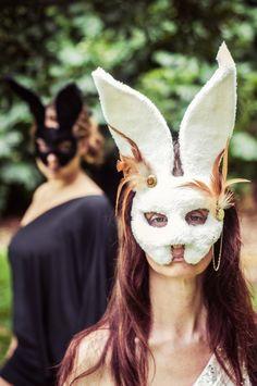 Follow the White Rabbit Masquerade Mask V/12 by PrimalArtsHawaii, $65.00