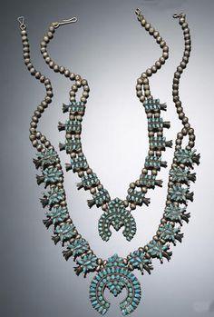 Two Zuni squash blossom necklaces