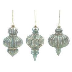 "Pack of 12 Seafoam Green Glitter Ribbed Mercury Glass Finial Christmas Ornaments 5""-5.5"" - Walmart.com"