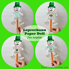FREE Leprechaun paper puppet template for St.Patrick's Day.