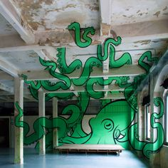 At the SAMO space for contemporary art in Italy, art collective Truly Design painted an octopus. They use the space in ingenious ways, as the dips and cracks become places to create perspective illusions.