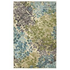 At five feet by eight feet, the Radiance rug design was inspired by nature's splendor, with a pattern reminiscent of lush leaves falling softly over water. Cool aqua shades run alongside hints of chartreuse, sky blue and rich grey in this chic palette.