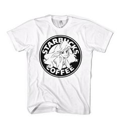 The Little Siren T-Shirt Starbucks Parody Little Mermaid Ariel - American Apparel Unisex Sizes S, M, L, XL - Custom Color. $24.99, via Etsy.
