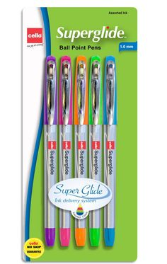 Amazon.com : Cello Advanced Ink 1.0mm Ball Point Pens, Purple/Pink/Orange/Green/Turquoise Ink, 5 Pack (Superglide 5 ct Fashion) : Ballpoint Stick Pens : Office Products
