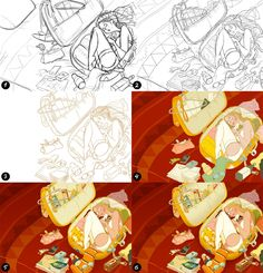 Bride process by Denis Zilber --- Initial rough sketch in Photoshop Second pass sketch Ink in Manga Studio Basic color blocking ( back to Photoshop ) Details and shadows Occlusion, highlights and color correction Photoshop 5, Photoshop Tutorial, Denis Zilber, Color Correction, Drawing Techniques, Show, Basic Colors, Art Tutorials, Color Blocking