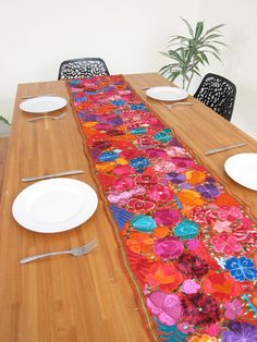Embroidered Table Runner Orange | ChiapasBazaar.com | Handmade Blouses,  Accessories U0026 Home Decor