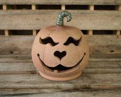 Stoneware Pumpkin Luminary - Halloween Decor - Fall Decor - Jack-O-Lantern