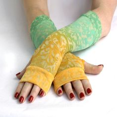 Tropical Sky Arm Warmers / gloves  Turquoise Blue  by WearMeUp, $24.00