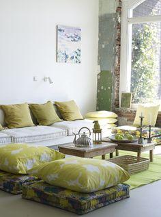 floor cushions + walls + color