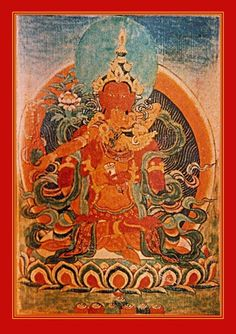 Avalokitesvara and Giti; in the west, taste consciousness embraces flavor. Who Looks Upon embodies compassion and holds a lotus, symbol of the Padma family and the primordial purity of all things. Song Lady holds a lute, through which the melody of life's meaningfulness resounds, awakening joy in those who are to be trained.