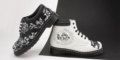 mens leather dr martens and Mark Wigan collaboration boots in white and black with illustrations