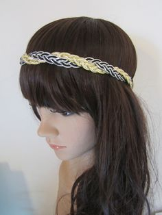 Black, silver and gold braided Headband. $15.00, via Etsy.