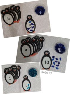 """Penguin counting cards (free printable) from Rachel ("""",) lovely idea"""