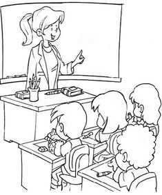 Teacher Coloring Book Pages - Teacher cartoon coloring pages School Coloring Pages, Cartoon Coloring Pages, Coloring Book Pages, Coloring Sheets, Children's Book Characters, Human Drawing, Art Folder, Book Illustration, Illustrations