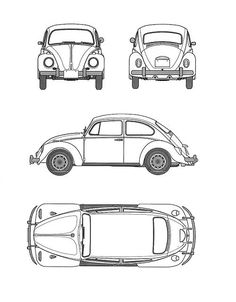 Quatro vistas do fusca - Volkswagen Beetle - Wikipedia Beetles Volkswagen, Volkswagen Beetle Cabriolet, Beetle Car, Volkswagen Bus, Vw Camper, Beetle Tattoo, Car Drawing Pencil, Beetle Convertible, Roadster