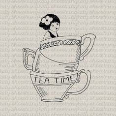 Tea Time Lady In Stacked Teacups Original Design Digital Download Digital Stamp Fabric Transfer Burlap Towels Totes Pillow Tags Paper Crafts...