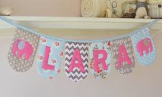 Personalised padded name bunting  duck egg by DownGrapevineLane, $10.00