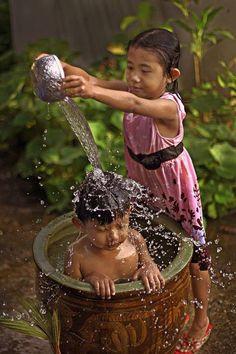 Having a bath on Bali