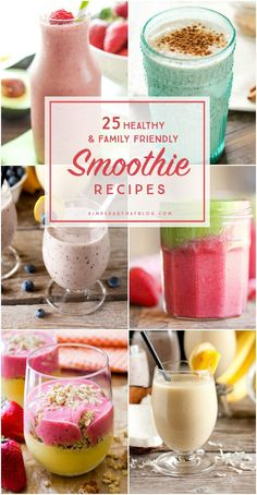 Time to get back on track with some healthy smoothies that the whole family will love. Start your day off right with some fresh fruits and veggies for breakfast!