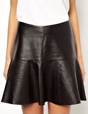 BNWT Y.A.S Black Real Leather Flare Peplum Skirt 8 RRP: £130 !!!!!