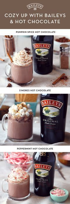 Have a warm drink and cozy up at home. These easy delicious twists on the classic Baileys™ Original Irish Cream and hot chocolate cocktail recipe are the perfect holiday treat. Pumpkin spice, peppermint, and S'mores—pick your favorite and enjoy! Christmas Drinks, Holiday Drinks, Holiday Treats, Winter Christmas, Christmas Morning, Chocolate Cocktails, Hot Chocolate Recipes, Hot Chocolate Baileys, Irish Chocolate