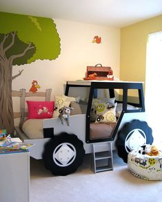 This is a farm bedroom complete with tractor bed and country cartoon mural. The mural was designed to fit around the tractor bed and really helps to pull the room together. Hand Painted by Carren Lu Boy Toddler Bedroom, Boy Room, Kids Bedroom, Childrens Farm Bedrooms, Toddler Beds For Boys, Car Themed Bedrooms, Bedroom Themes, Bedroom Ideas, Kid Beds