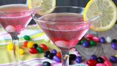 "Blogger Brooke McLay from Cheeky Kitchen says ""who says cocktails can't be cute as candy? Bring a bit of whimsy to your next cocktail hour with this cute and colorful Jelly Bean Martini!"""