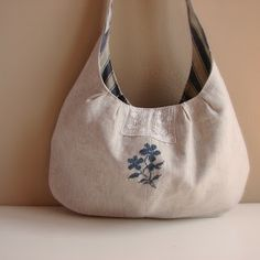 Shoulder bag wtih cross stitch embellishment by Roxy Creations